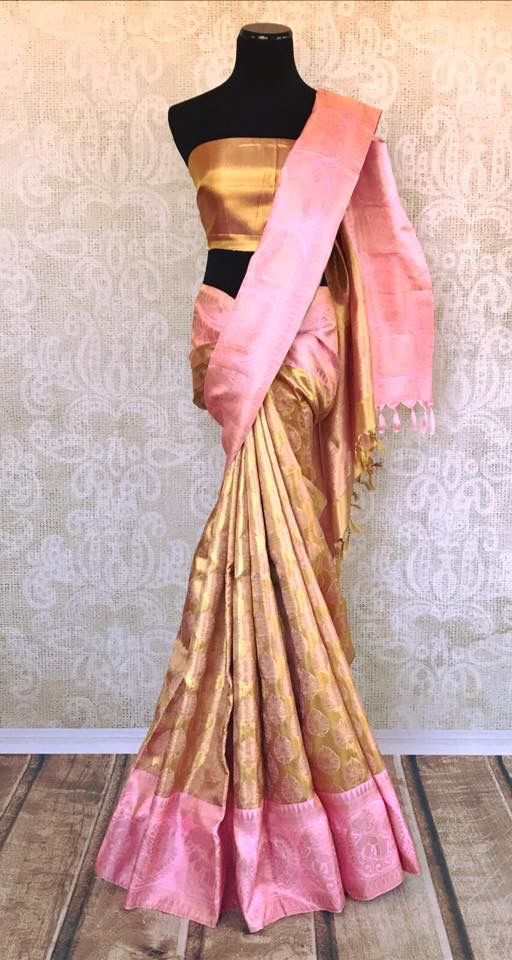 0aab1e2a7ef86a Buy gold Kanjivaram silk sari with buta online in USA. Pure Elegance  clothing store brings an exquisite range of Indian Kanchipuram silk sarees  in USA for ...