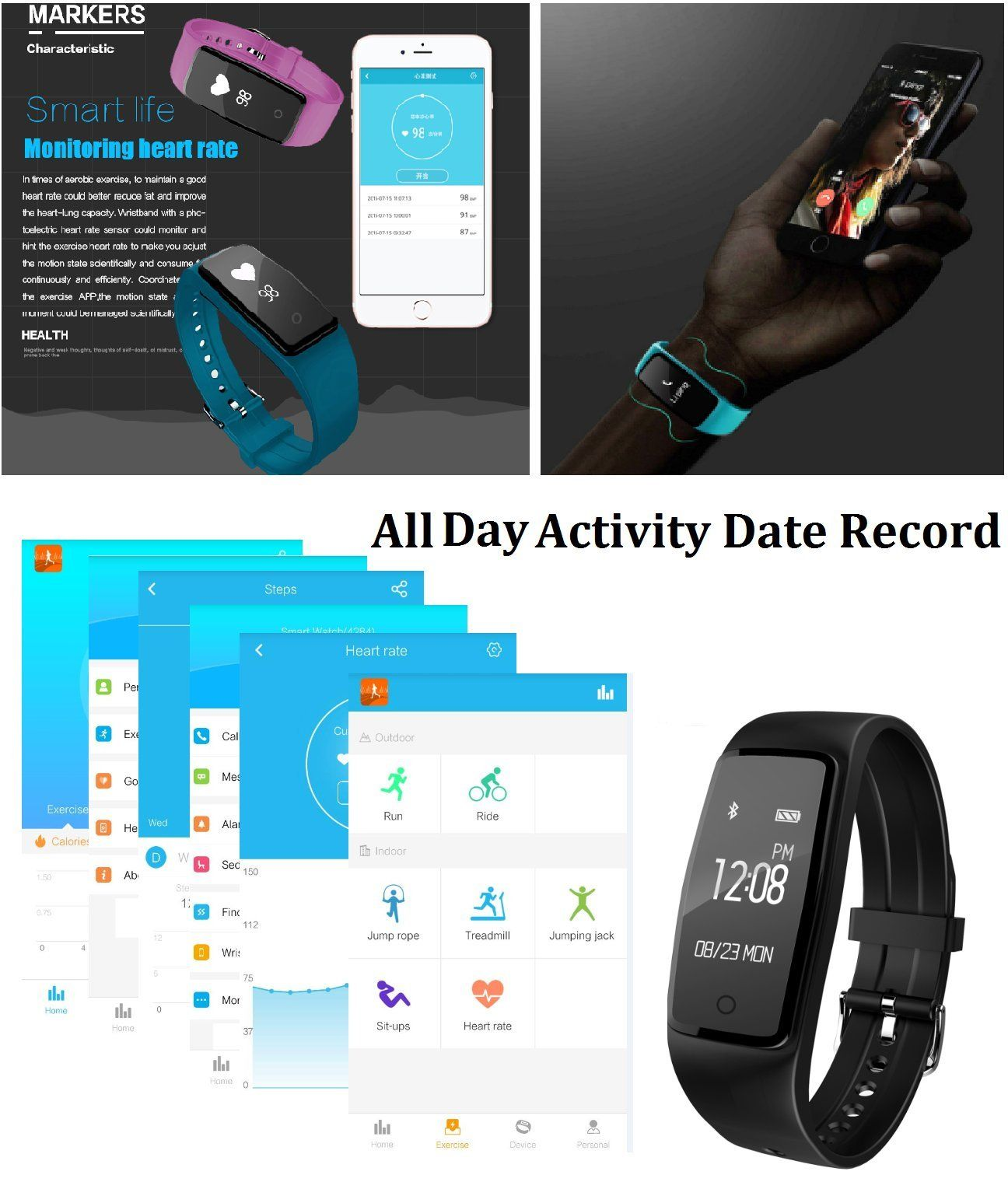 Fitness tracker activity tracker with heart rate monitor