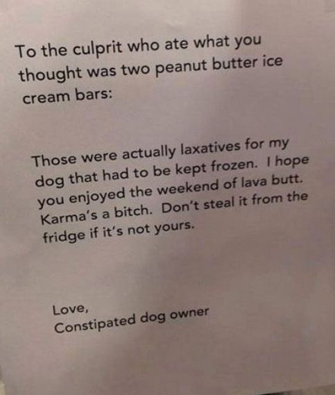 Letter from the owner of the constipated dog to the person who
