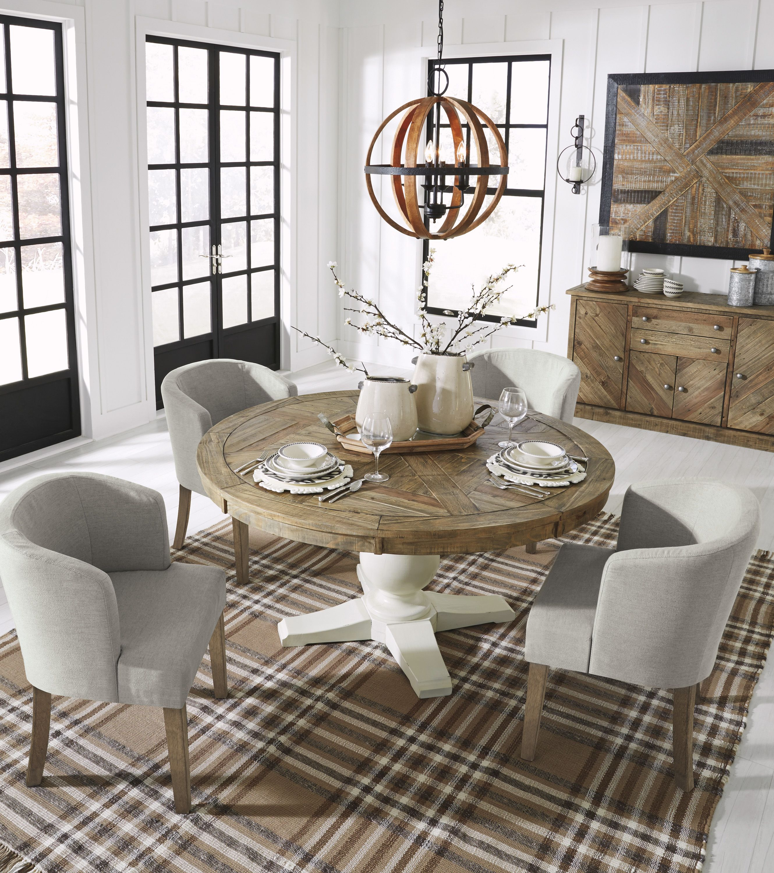 6bb12ed60f3a8 Grindleburg dining room is a well-made country cottage inspired set.  Crafted with reclaimed