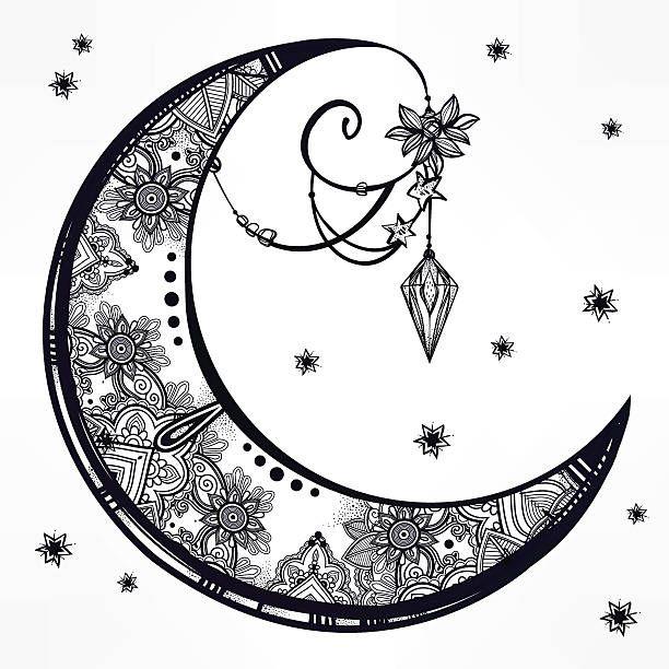 Ornate Crescent Moon Illustration Vector Art