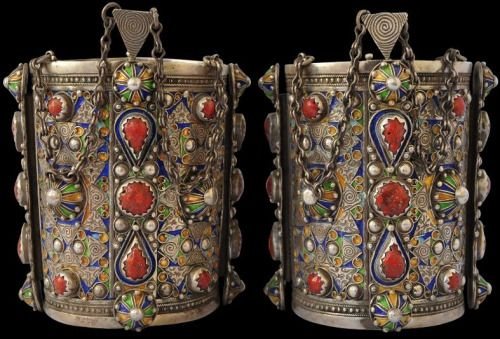 Pair of Silver Anklets with Coral & Enamel Great Kabylia, Algeria circa 1920 height of each: 12.7cm, outside diameter of each: approx. 9cm, combined weight: 937g Michael Backman Ltd