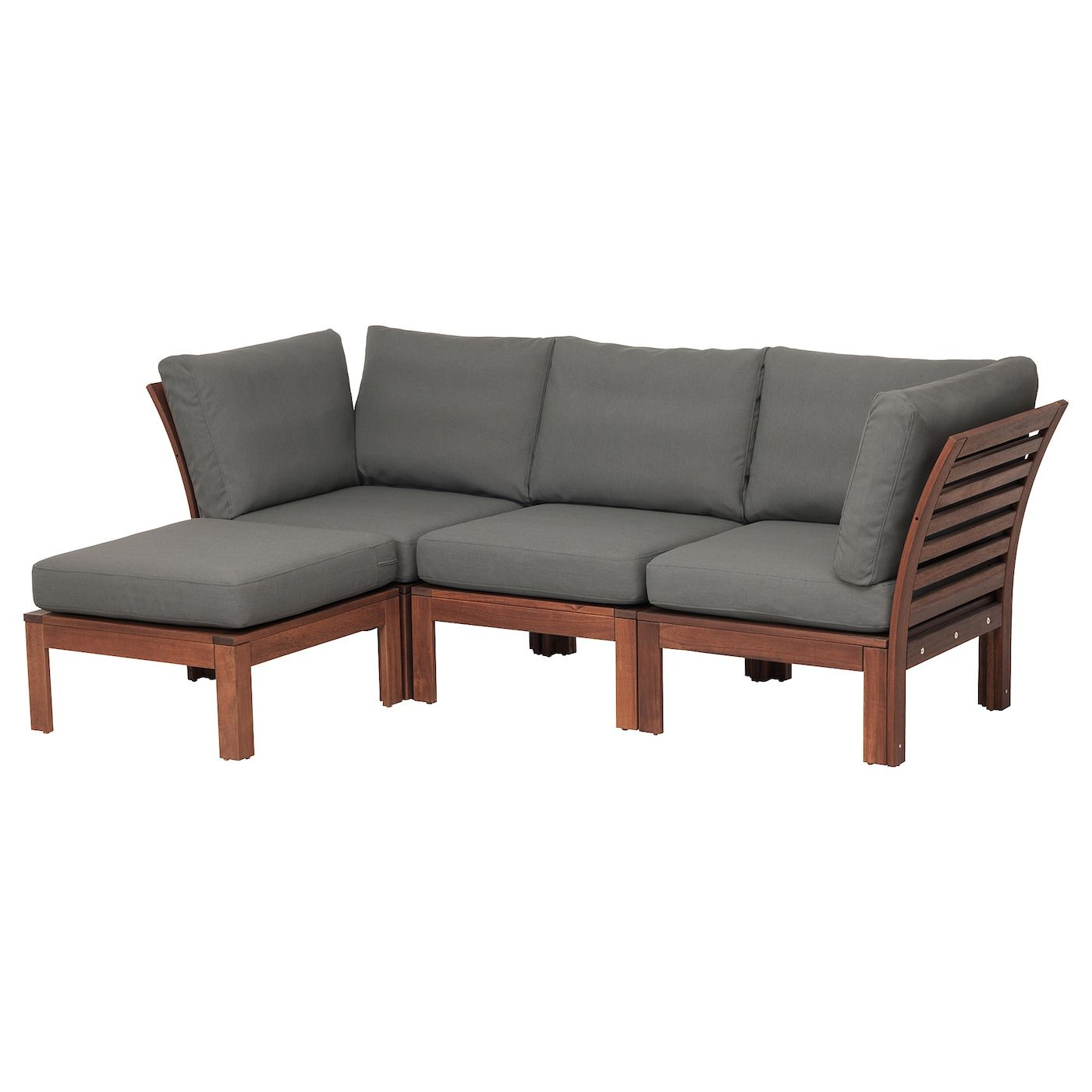 ÄPPLARÖ 3 seat modular sofa, outdoor brown stained with