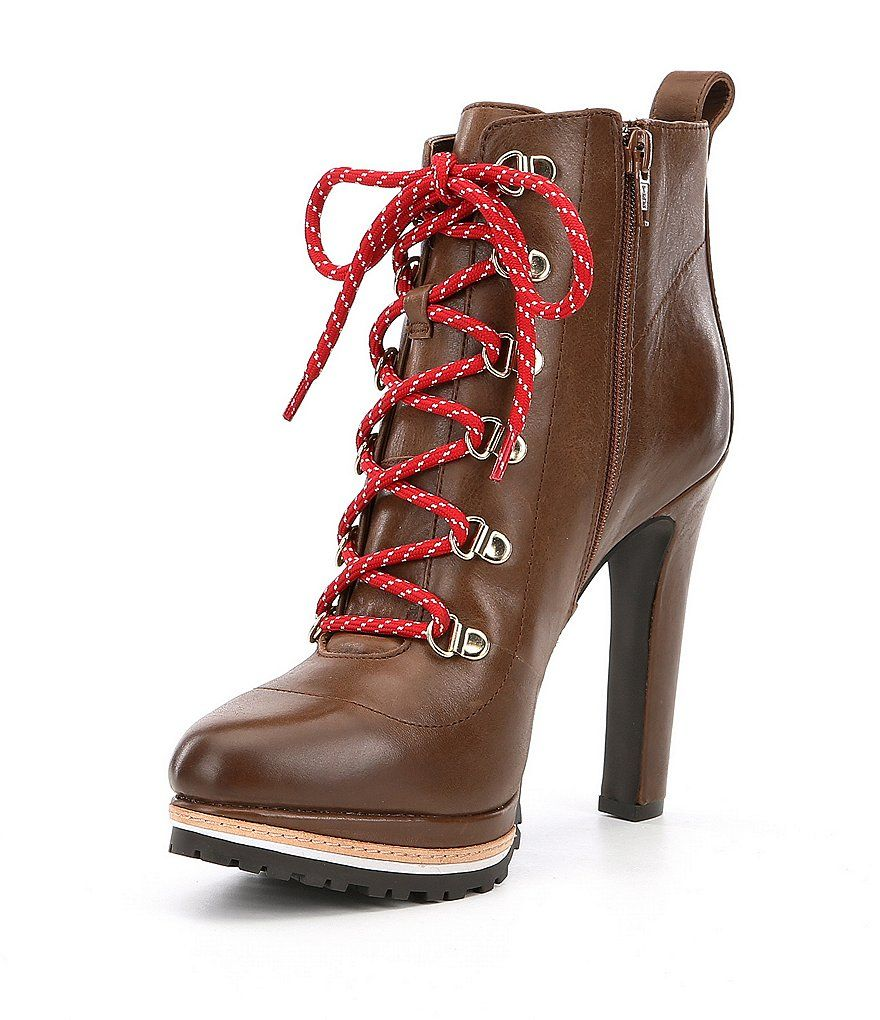 Gianni Bini Tondria Leather Lace Up Hiker Booties | Dillards