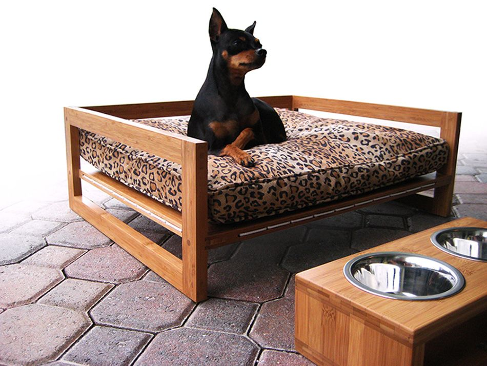Modern wood raised dog bed made from Plyboo bamboo plywood