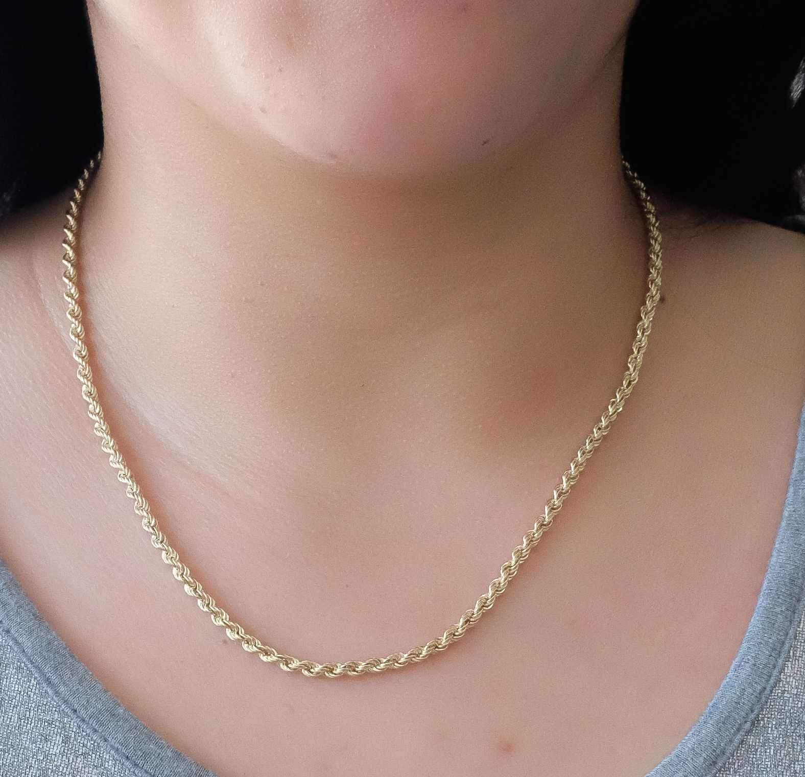 16 Inches Long Rope Chain 14Kt Gold Rope Chain