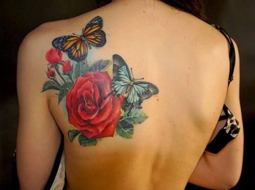 Flor Rosa Y Pimpollos Con Mariposas Tatuajes Pinterest Tattoos