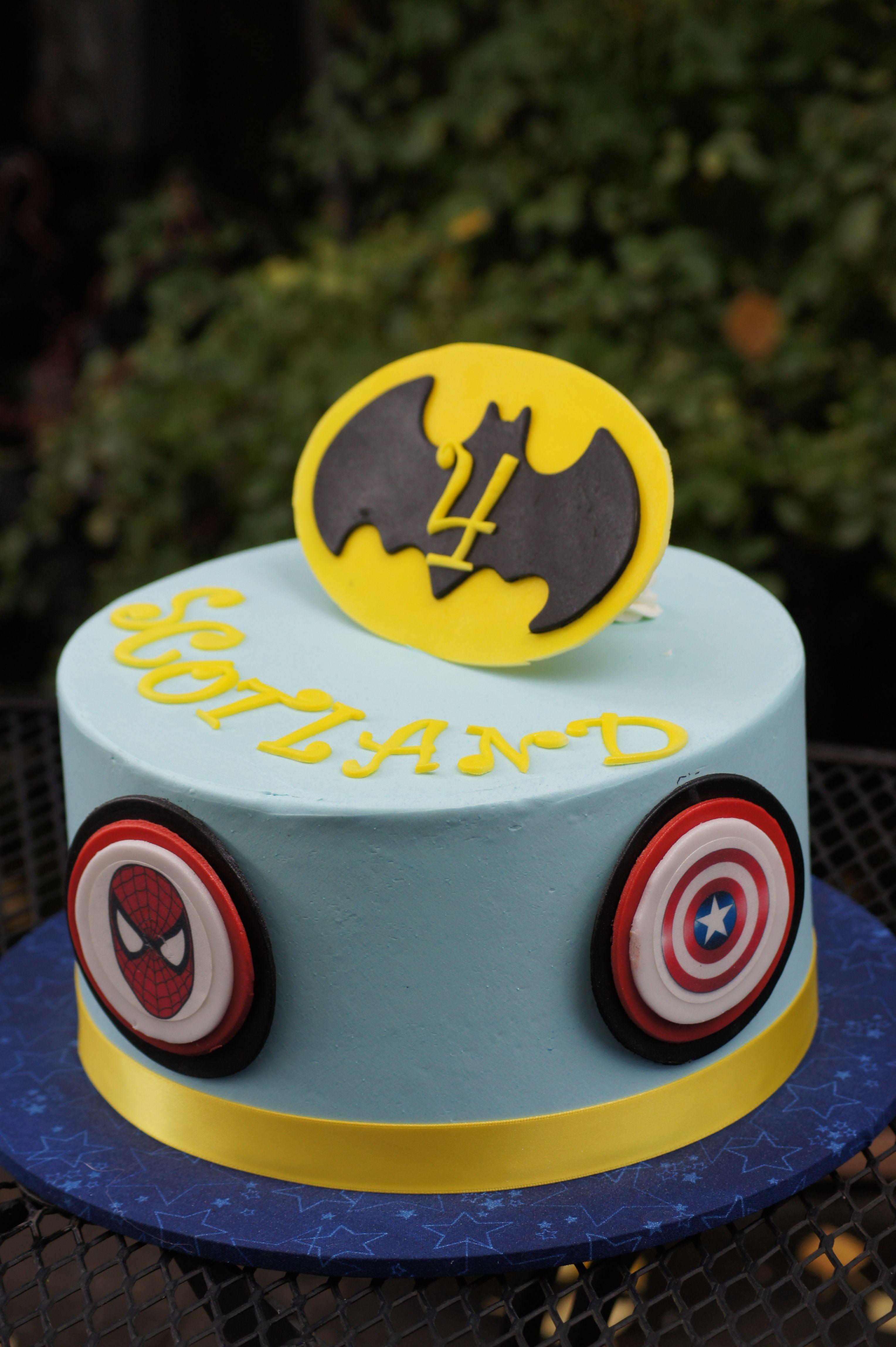 Blue Superhero Themed Birthday Cake Childrens Cakes Pinterest