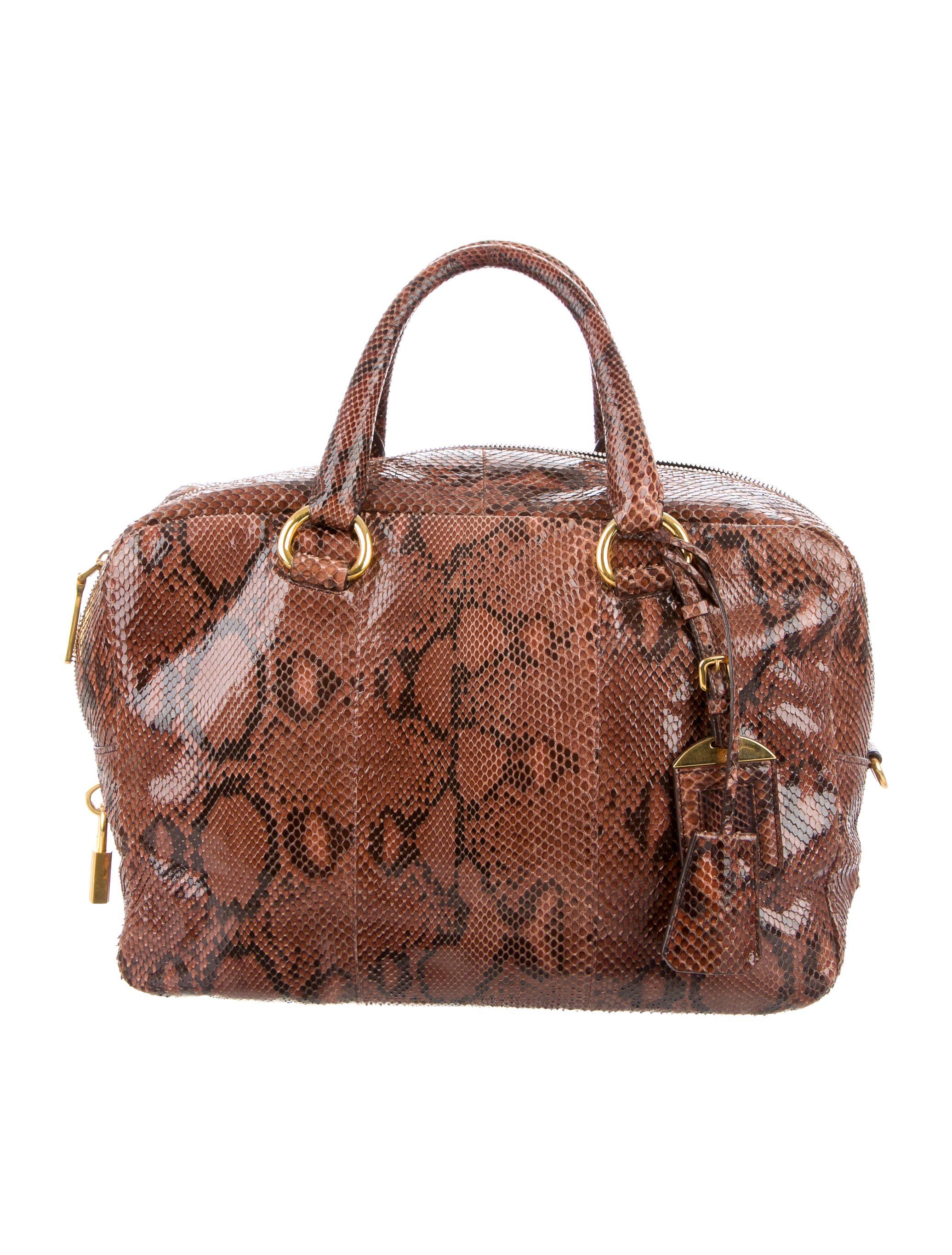 5f882929c278 Brown and black python Prada Bauletto bag with gold-tone hardware, logo  placard at