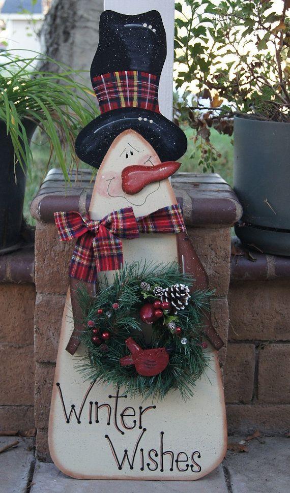 Snowman Christmas or Winter Porch Sitter - Wood Christmas Outdoor/Indoor Yard Decoration - Welcome Sign #rustikaleweihnachtentischdeko