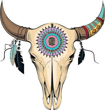 bull skull vector art illustration native american beading