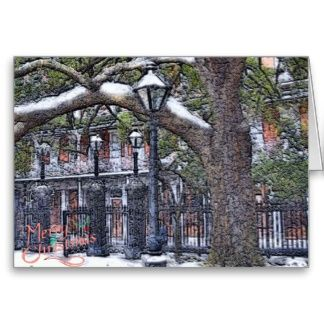 Jackson Square New Orleans  Snow Christmas Greeting Card add text on web from local artist.