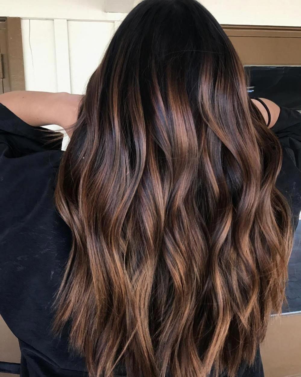 Stylish 44 Cool Brown Hair Caramel Highlights Ideas To Try Chocolatebrownhair Brownhair Hair Color For Black Hair Hair Styles Brown Black Hair Color