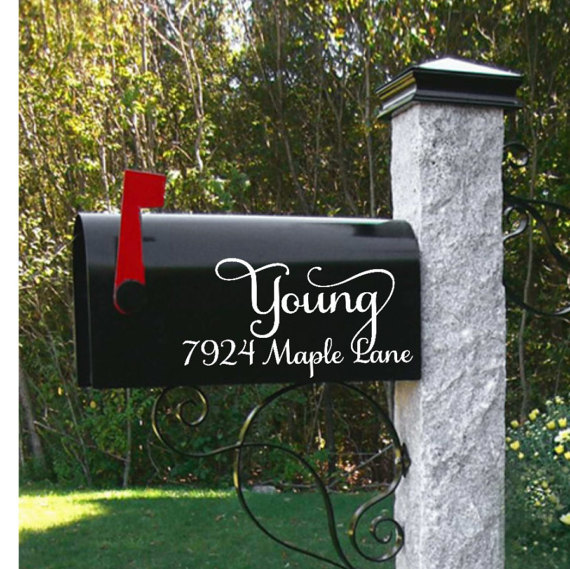 Customized mailbox personalized mailbox family name mailbox street address decal personalized decals mailbox vinyl decals