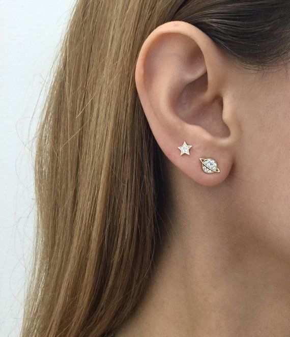 Sterling Silver Saturn and Star stud earrings ,Dainty studs, Planets earrings, Star earrings, Mismatching earrings, Saturn studs, Gold studs #secondearpiercing