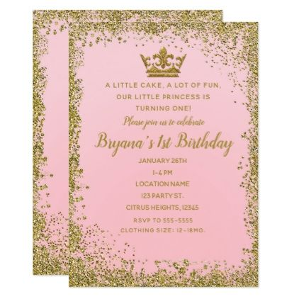 Rose Pink & Gold Glitter Crown 1ST Birthday Party Card ...