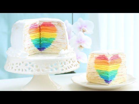 """▶ 무지개 하트 크레이프 케이크 만들기 Rainbow Heart Surprise Mille Crepe Cake 한글자막 """"Eugenie Cake 유지니케이크"""" - YouTube"""