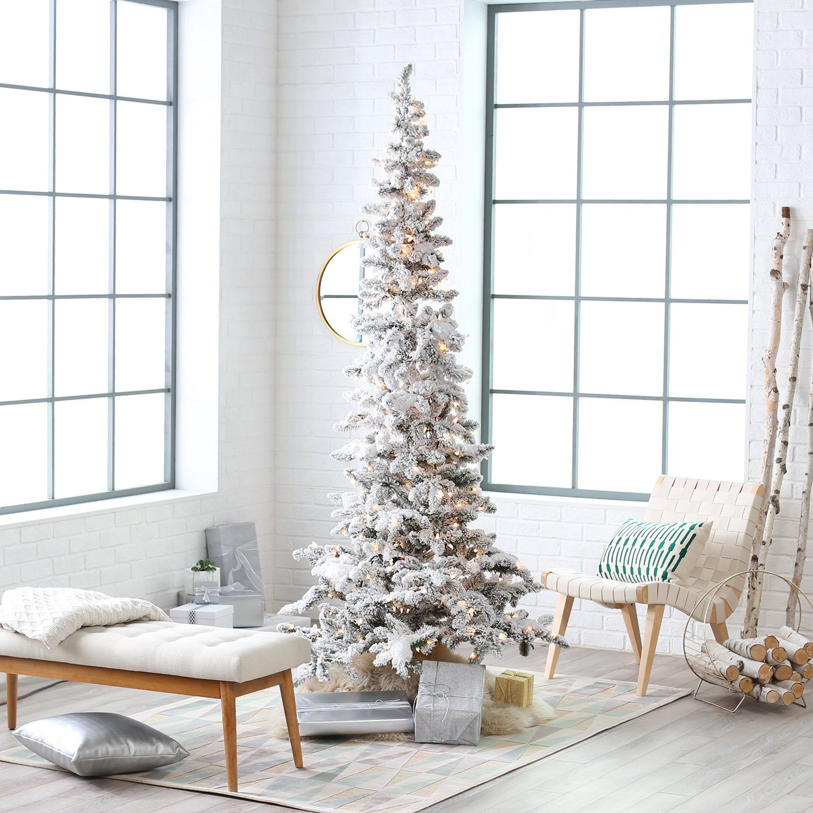 Frosted Slim Christmas Tree: Narrow Flocked Austin Pine Pre-Lit Slim Christmas Tree