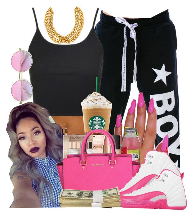 """""""💕 chill"""" by brandylovebrandy ❤ liked on Polyvore featuring BOY London, Topshop, Michael Kors, NIKE and Ben-Amun"""