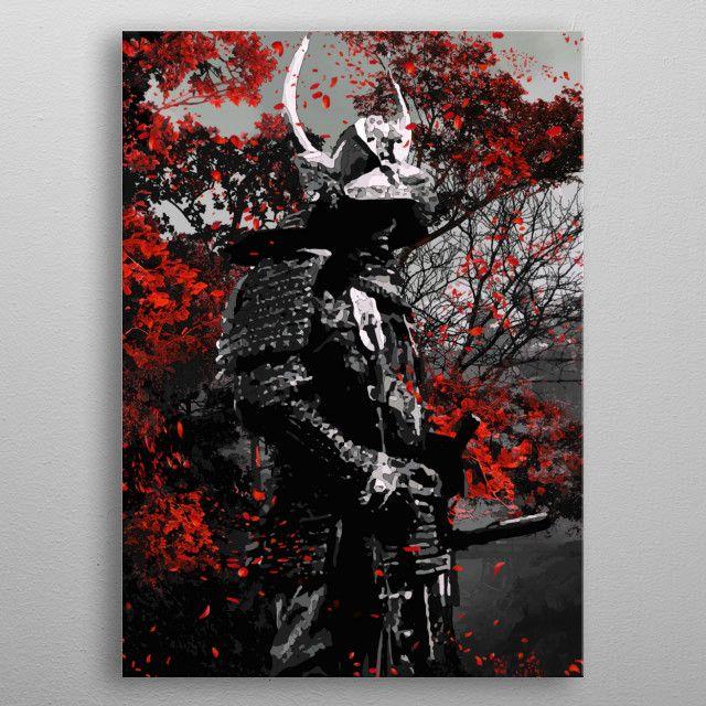 Oni Samurai Red flower ink metal print | Displate thumbnail