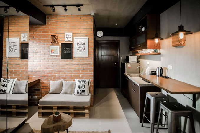 A modern industrial look for a 22sqm studio unit modern for Interior designs for condo units