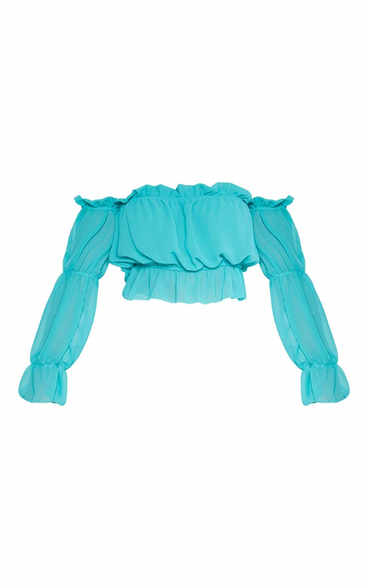 Womens Parisian Blue Bardot Stripe Flare Sleeve Crop Top