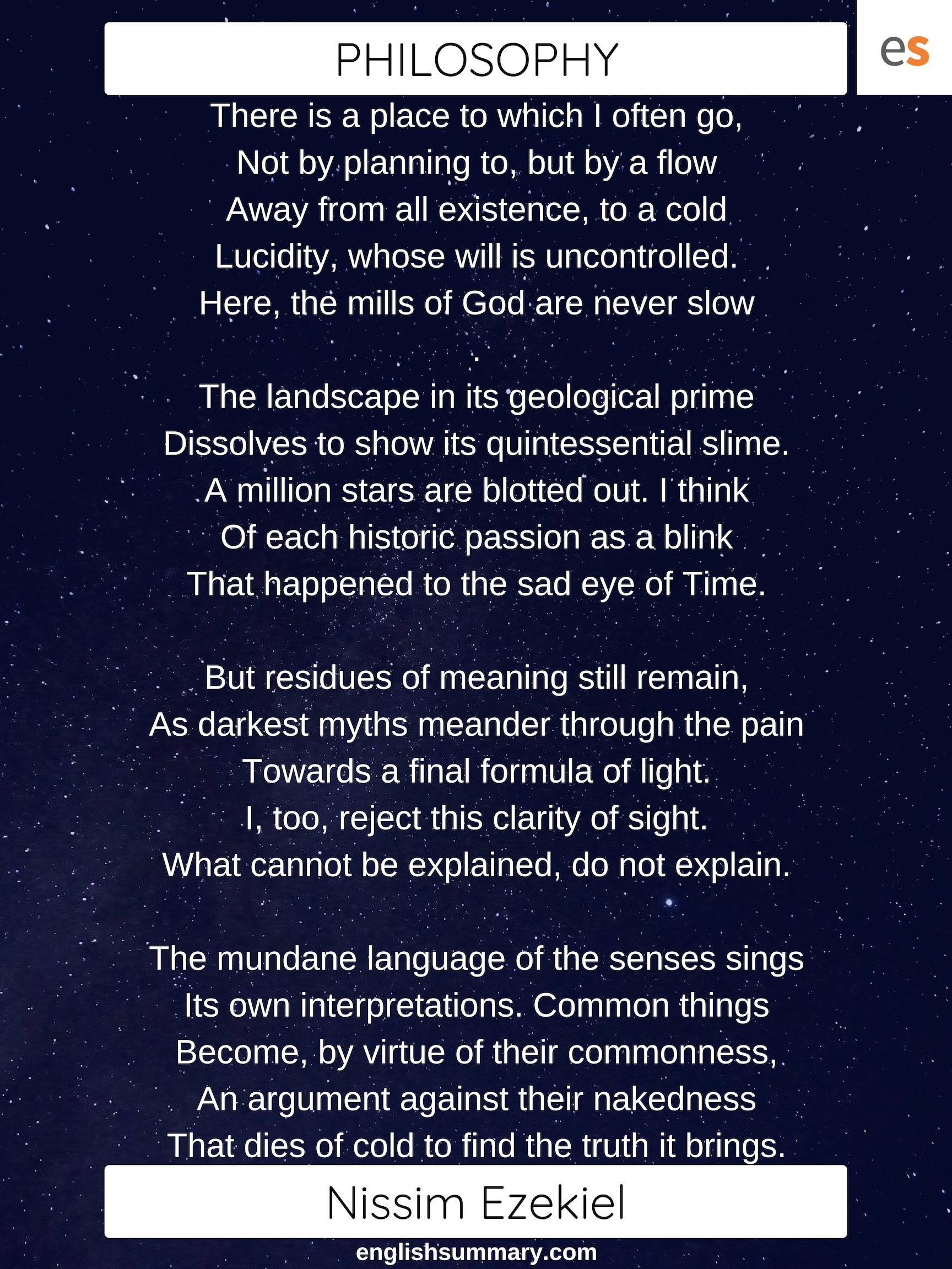 Philosophy Poem By Nissim Ezekiel English Vocabulary Word Morning Quotes A Thing Of Beauty John Keat Theme