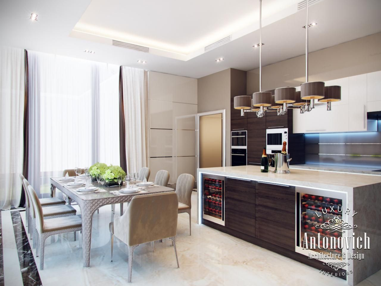 kitchen design in dubai, kitchen in style minimalism, photo 1