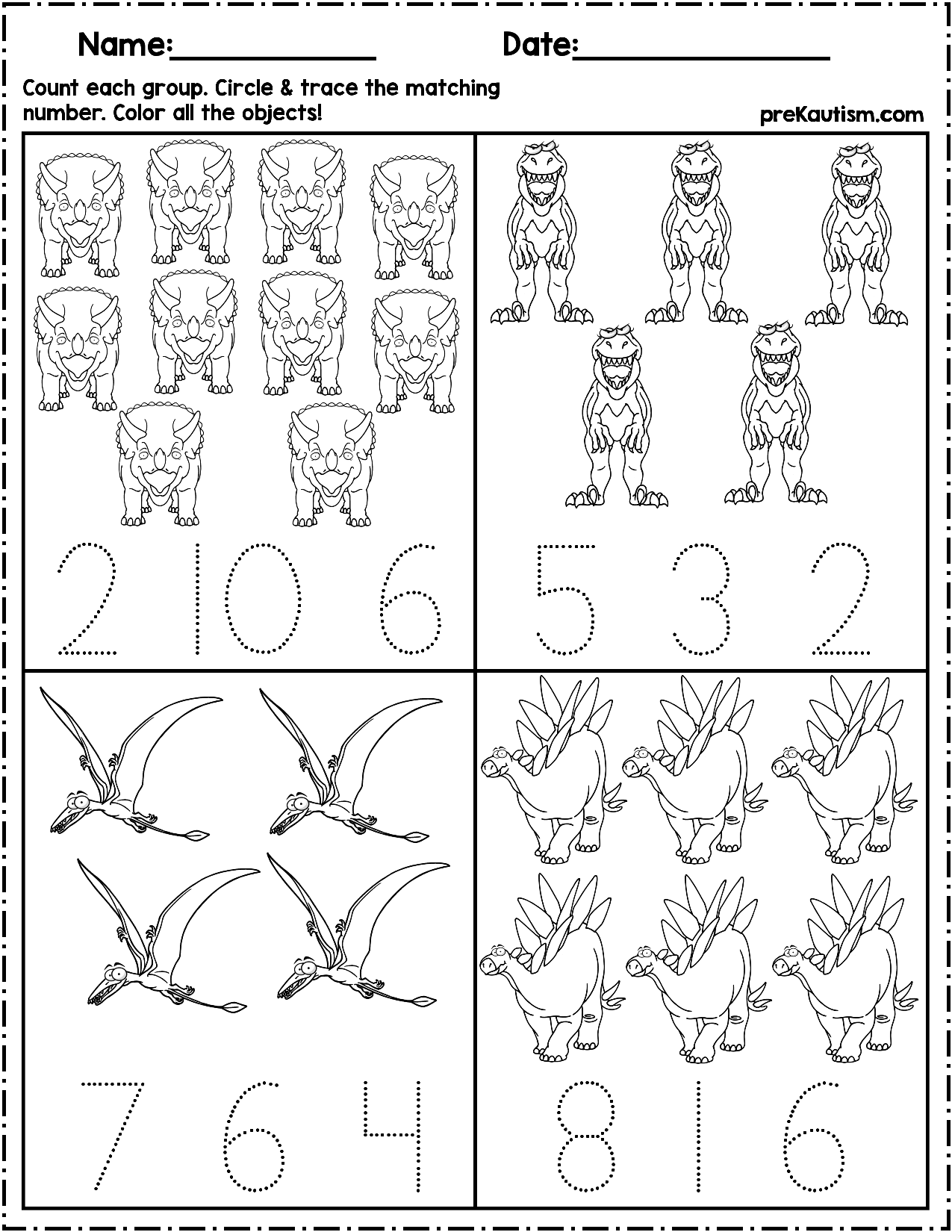 $1.50   Use these worksheets to teach quantity counting and number writing!  Pack includes 10 dinosaur themed no pre…   Writing numbers [ 1650 x 1275 Pixel ]