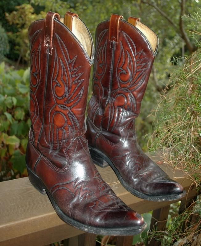 Bowman's Wilson Boot Company Cowboy Boots Hand Made Maroon and ...