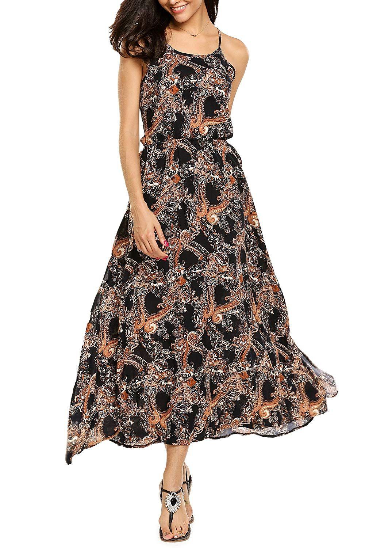 3586637d538e AL OFA Women s Cotton Halter Neck Side Split Backless Floral Print Boho  Beach Party Maxi Dress at Amazon Women s Clothing store