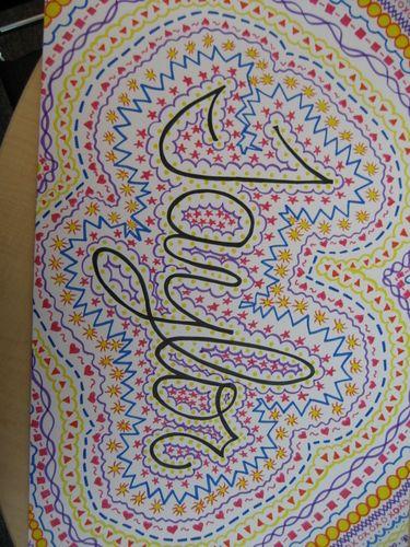 Line Drawing Name Designs : Name art repetition line color fine motor skills