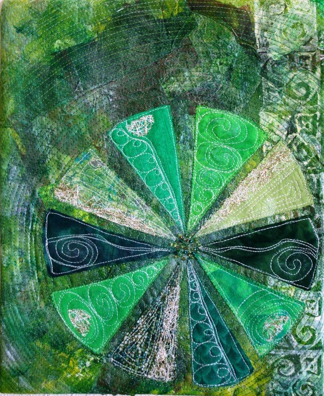 """""""Lime Sorbet"""" by Catherine Parkinson: machine quilted and beaded, collaged art quilt"""