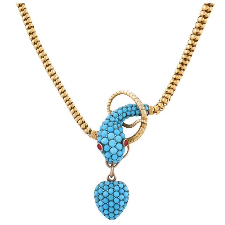 Tessier London Antique Turquoise Ruby Gold Snake Necklace Snake