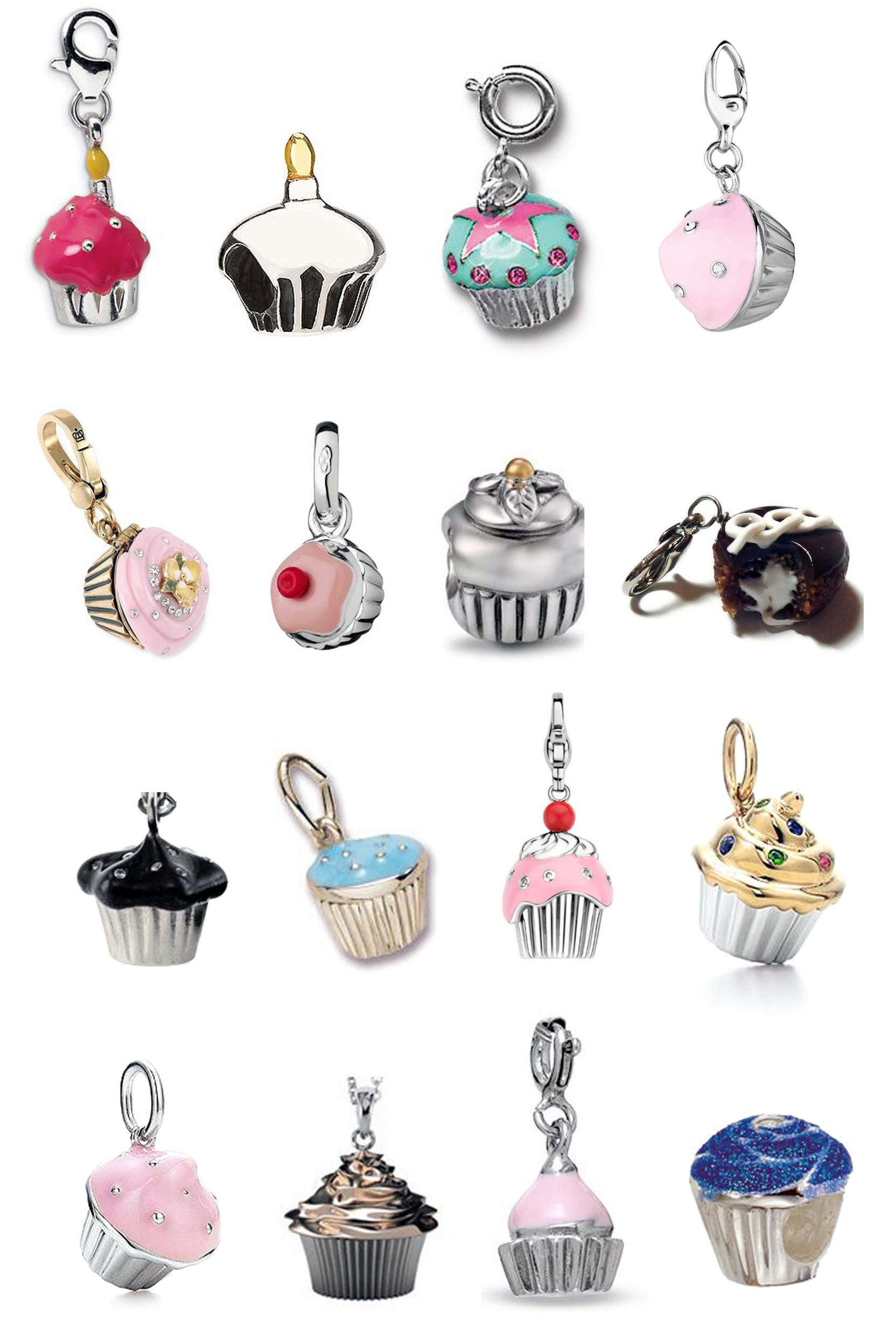 Sterling Silver Large Cupcake Clip on Charm Gift Boxed