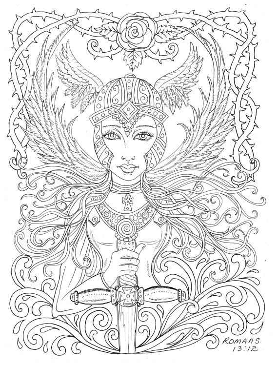 warrior angel coloring page adult christian color scripturechurchbible digitaldigiheaven