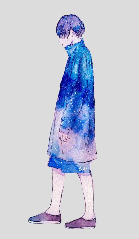 宇宙を纏うbyアオフジスイのイラスト Pixiv 宇宙柄 イラスト