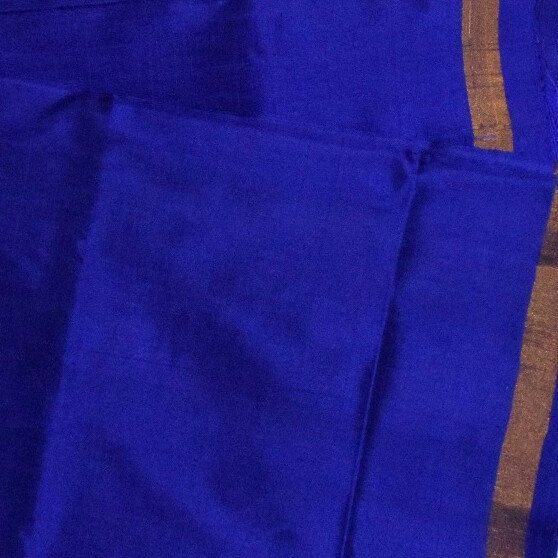 Navy Blue Uppada Plain Silk Saree With Small Zari Border Devi