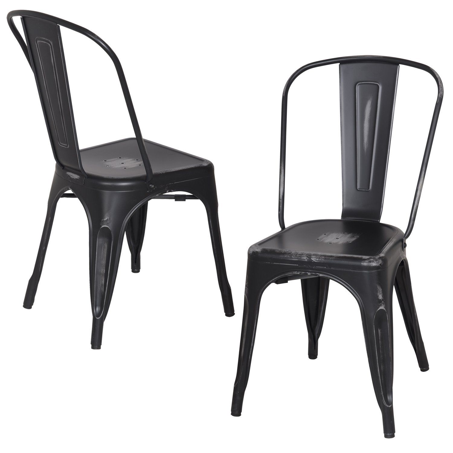Adeco metal stackable industrial chic dining bistro cafe side chairs - Amazon Com Adeco Metal Stackable Industrial Chic Dining Bistro Cafe Side Chairs Black