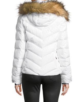 563623b70b Bogner Sassy D Womens Ski Jacket in White. Bogner Sport Sassy Chevron Down  Puffer Jacket w  Faux-Fur Trim
