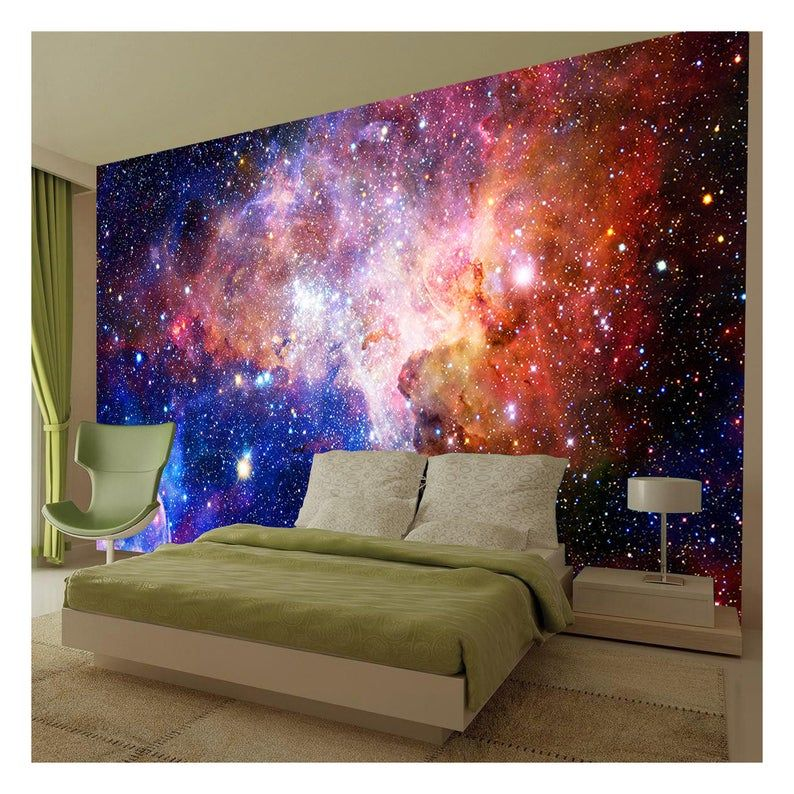 Space Galaxy Stars Planets Universe Photo Wallpaper Mural Etsy Mural Wallpaper Planets Wallpaper Baby Room Wall