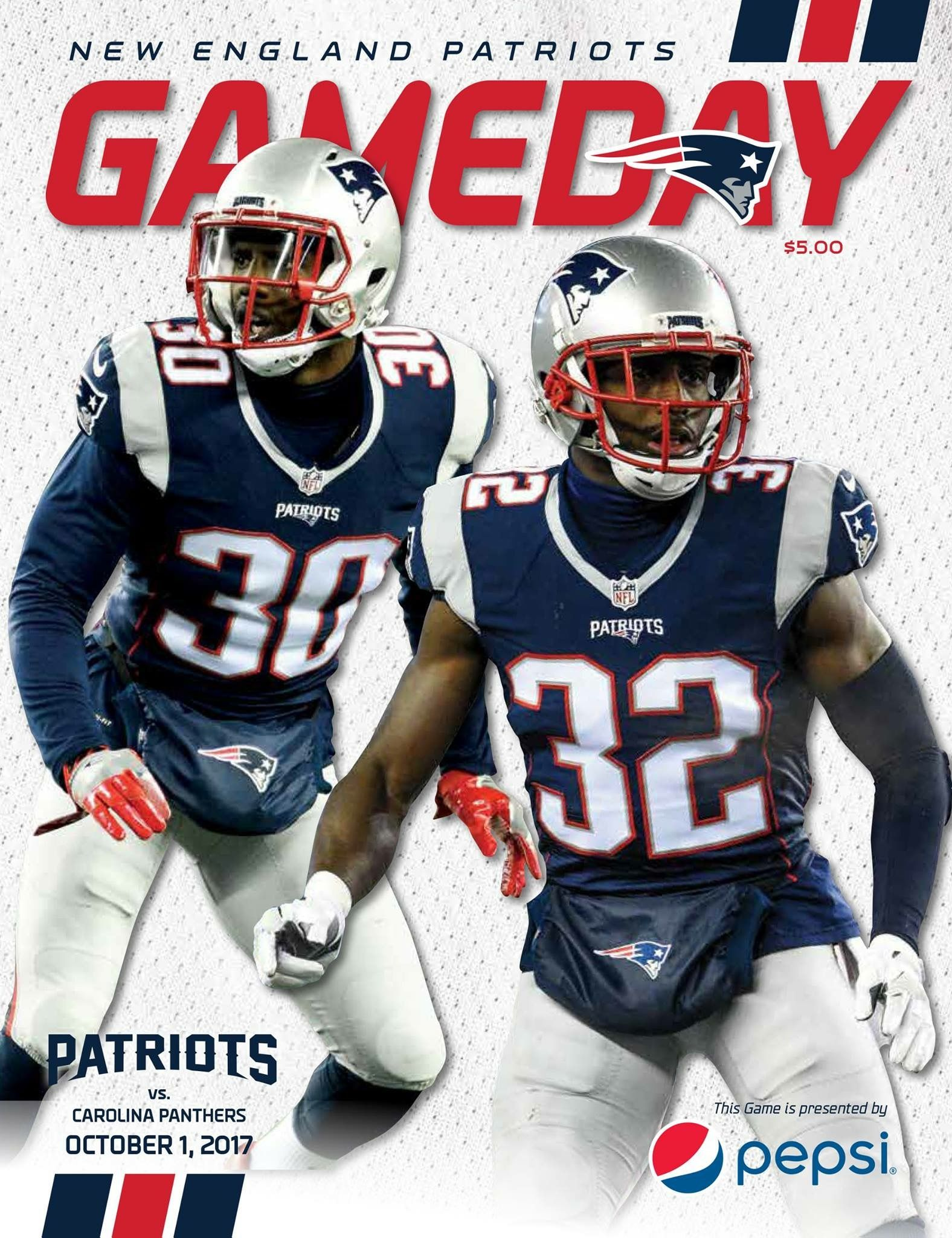 Gameday Program Cover Week4 Carvsne Letsgo New England Patriots Carolina Panthers Football Helmets