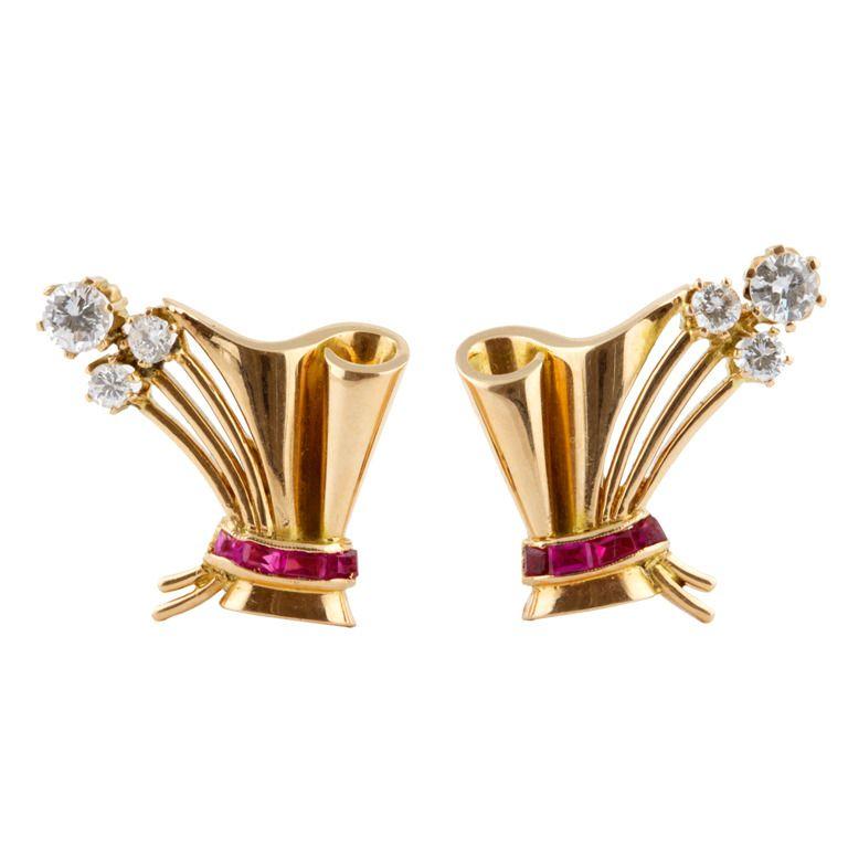 1stdibs | Retro Ruby and Diamond Earrings