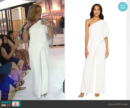 e7c61d7a87b023 Hoda s white one shoulder jumpsuit on Today. Outfit Details  https    wornontv