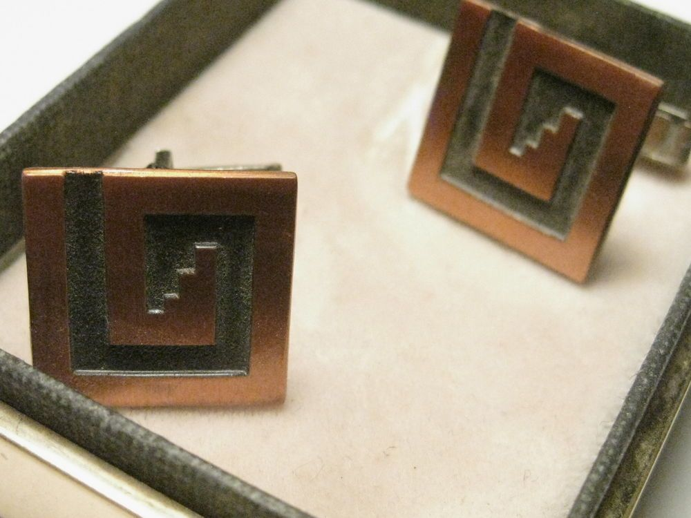 Vintage Copper Square Southwestern Design Cuff Links - in Box, Patent:  2920363