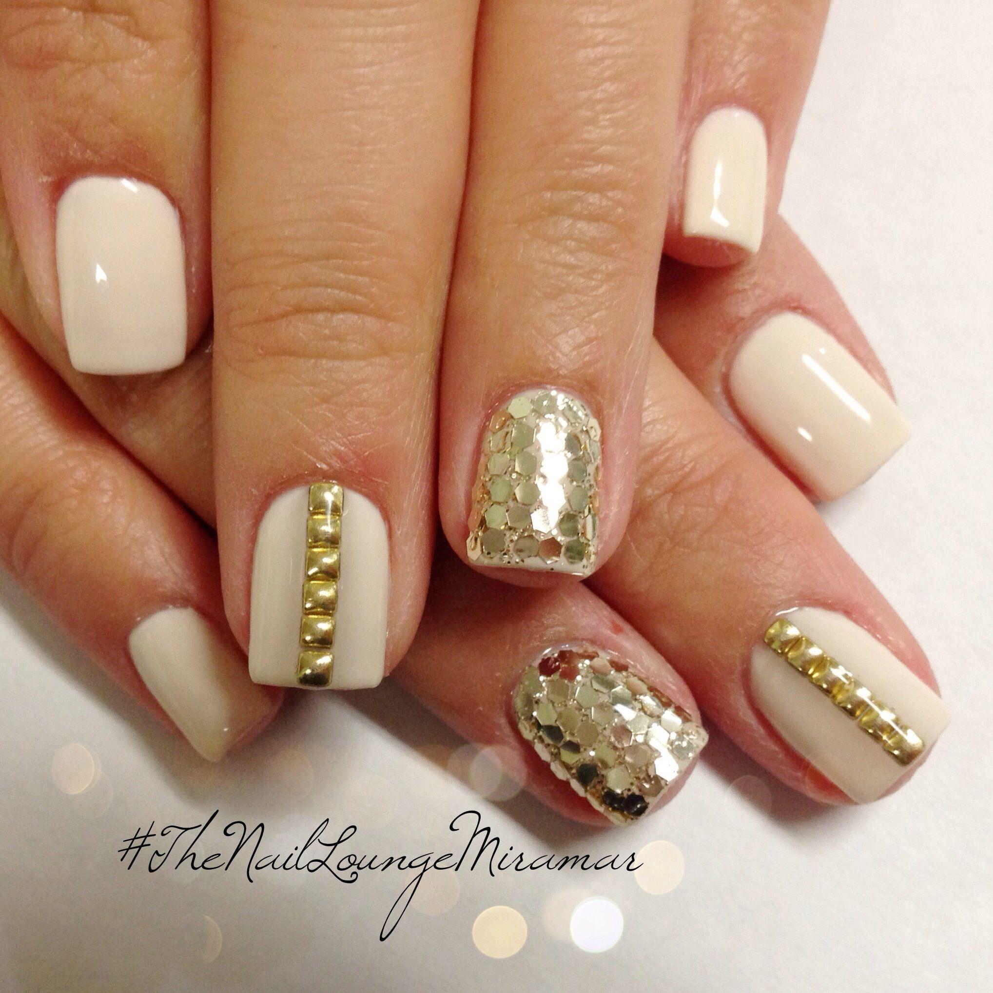 Engagement Bridal Gold Nail Stud Gel Nails Nail Art Pinterest