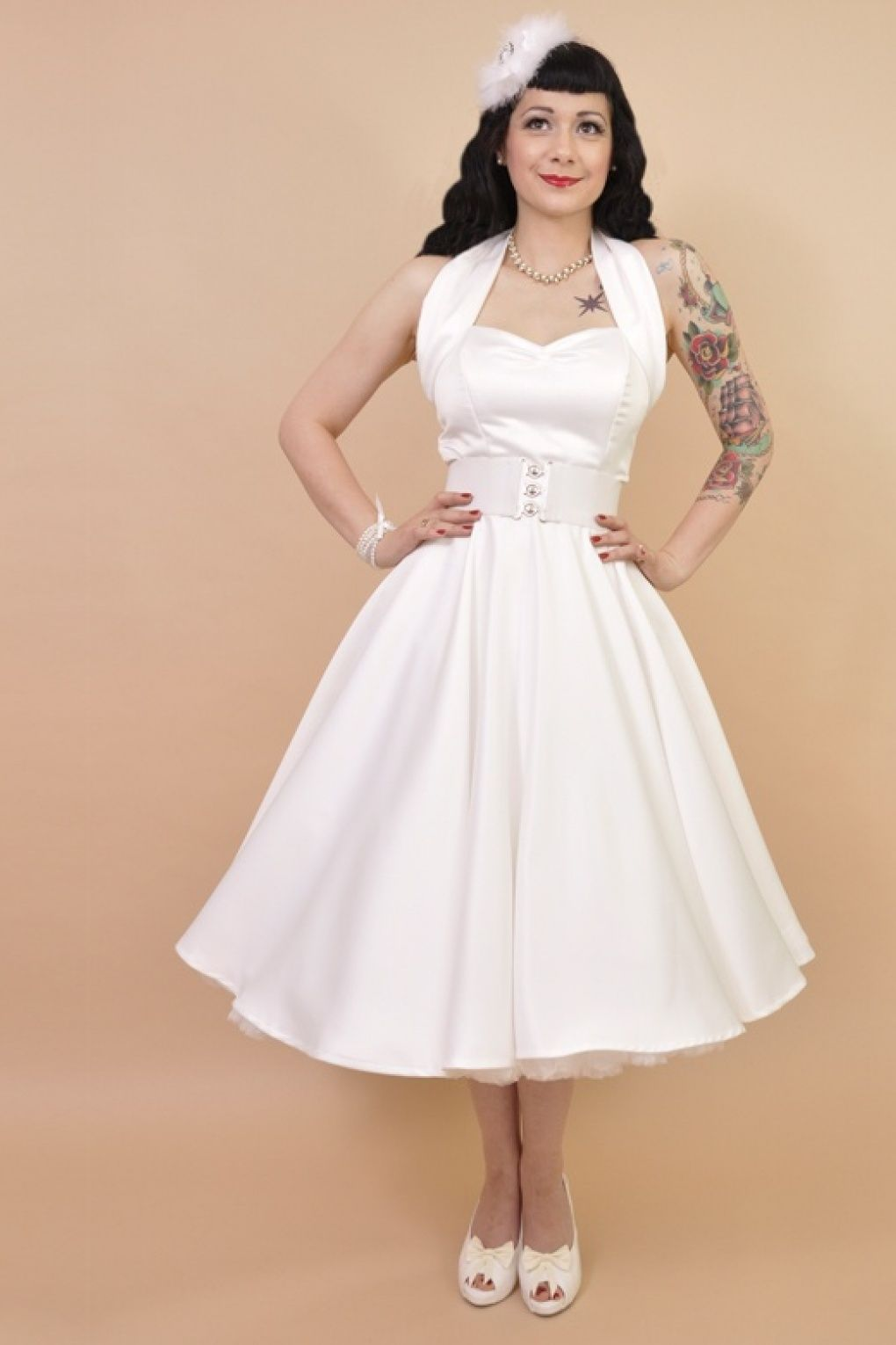 Vivien of Holloway - 50s Retro halter White Satin swing dress bridesdress