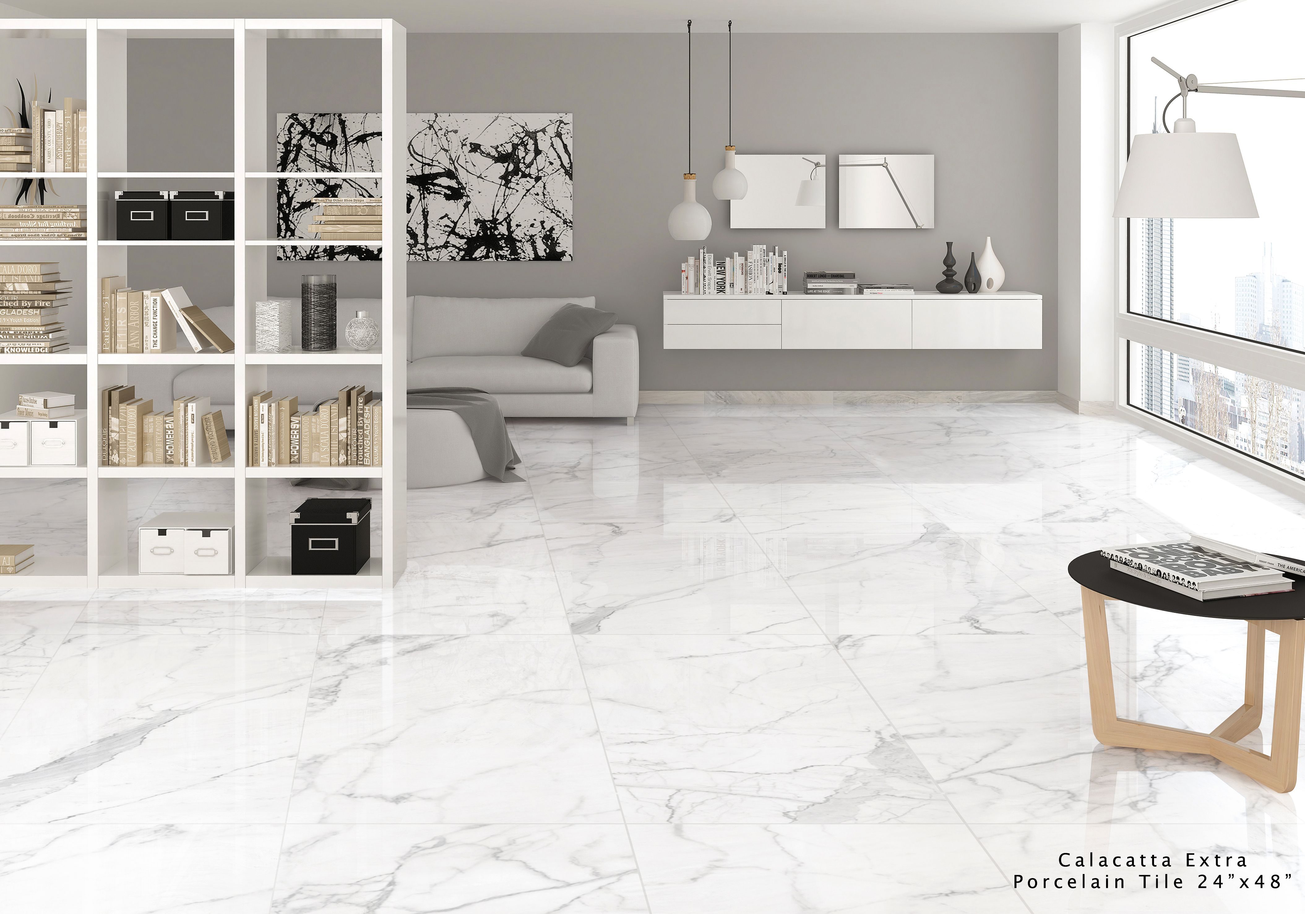 Calacatta Extra Marble Effect White Porcelain Tiles The Surprising Shine Of The Materials Enhances The Pr Indoor Tile Floor Tile Design Porcelain Floor Tiles #porcelain #floor #tiles #for #living #room