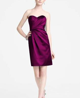 Bridesmaids' satin dresses (Sangria color). Cute!