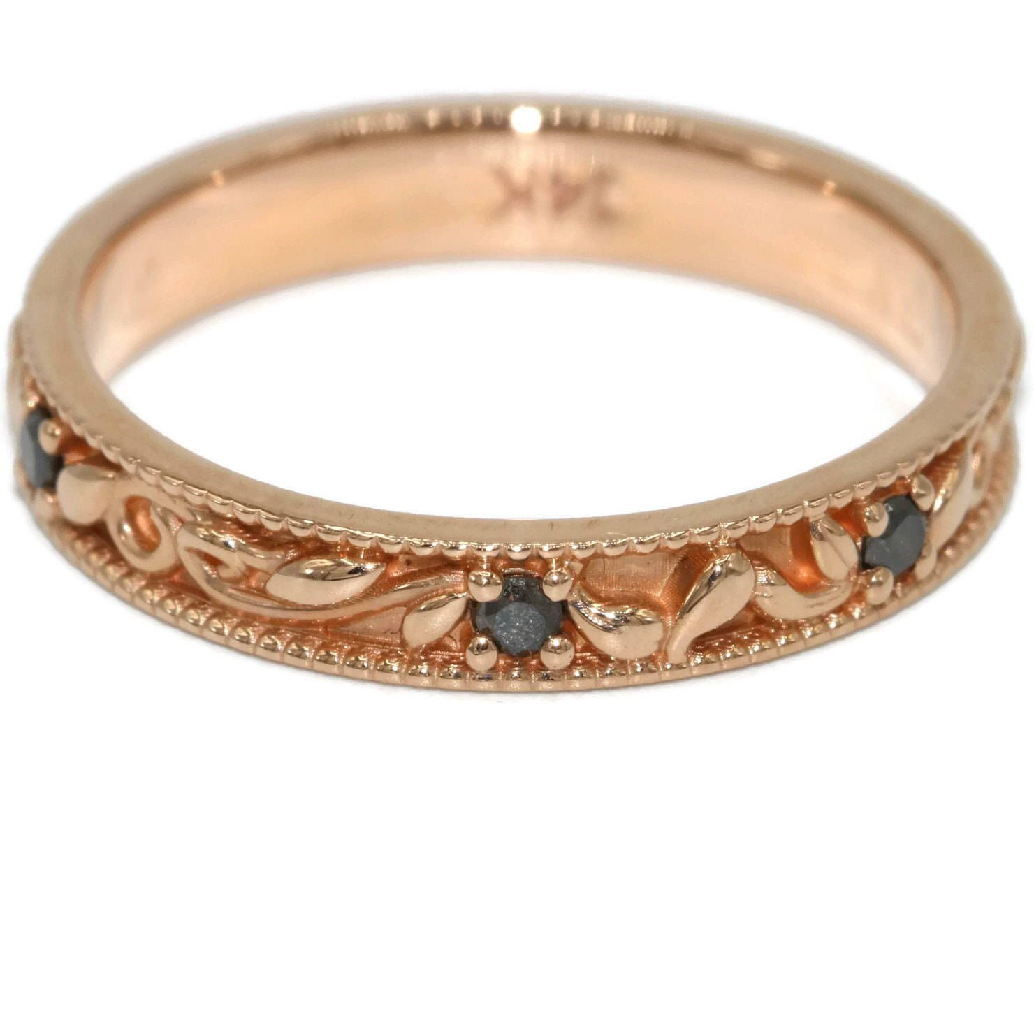 Wedding eternity Ring Whimsical filigree bands Rose Gold and